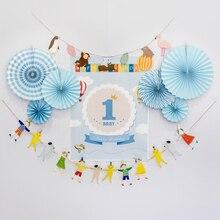 Здесь можно купить   happy birthday paper party set  fan decoration prints poster custom decorations boy girl flower banner flag baby shower supplies Festive & Party Supplies