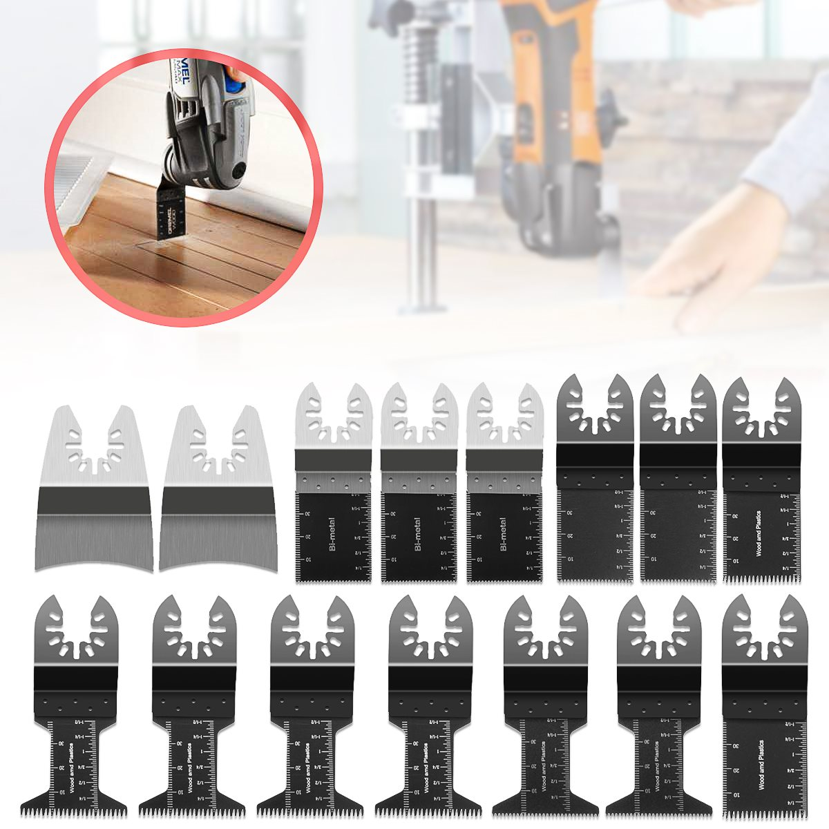 Doersupp Hot Sale 15 Pcs/set Oscillating Multitool Saw Blade Woodworking Accessories Kit Home DIY Power Tools For Cutting Wood