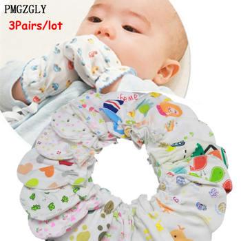 3 par partia noworodków odporne na zadrapania rękawice rękawiczki dla dzieci akcesoria do opieki nad dziećmi rękawice rękawiczki bawełniane dla 0 do 24 miesięcy rękawiczki tanie i dobre opinie PMGZGLY COTTON Baby Bibs Drukuj Unisex