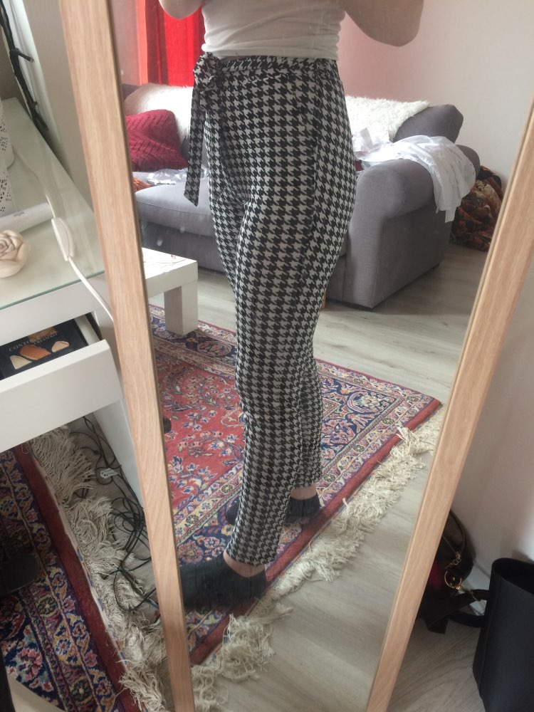 Drawstring Waist Houndstooth Pants Mid Waist Straight Leg Pants Autumn Casual Women Trousers photo review