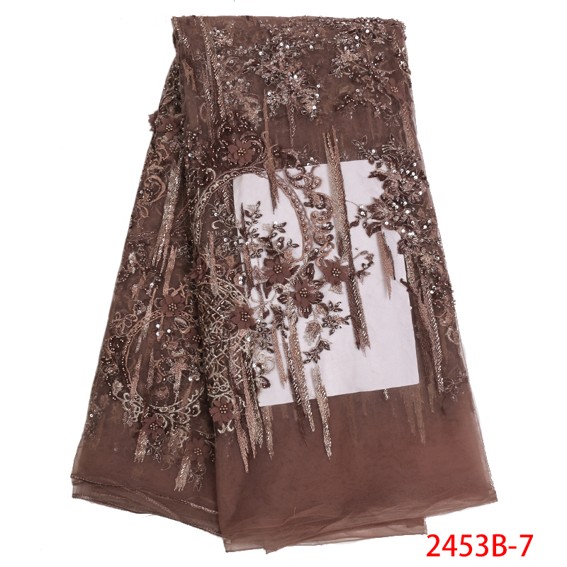 Beatiful Handmade Beaded Lace African Tulle Lace with Beads 2019 High Quality Luxury Lace Fabric for