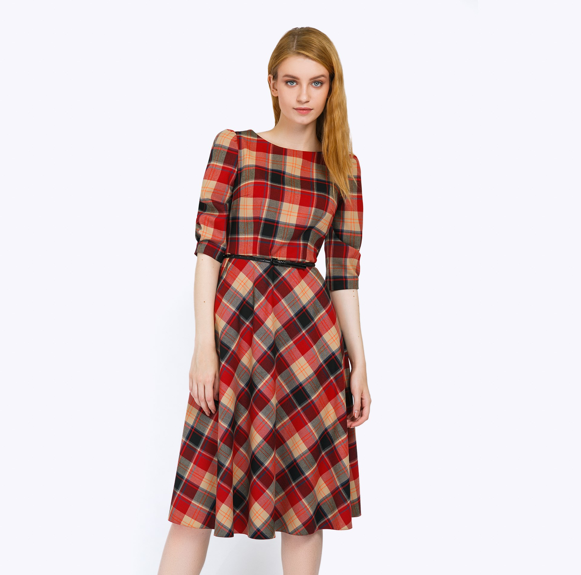 Dress A-line plaid self belted button up plaid print dress