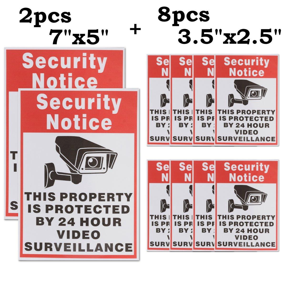Safurance 10pcs/lot Waterproof Sunscreen PVC Home CCTV Video Surveillance Security Camera Alarm Sticker Warning Decal Signs