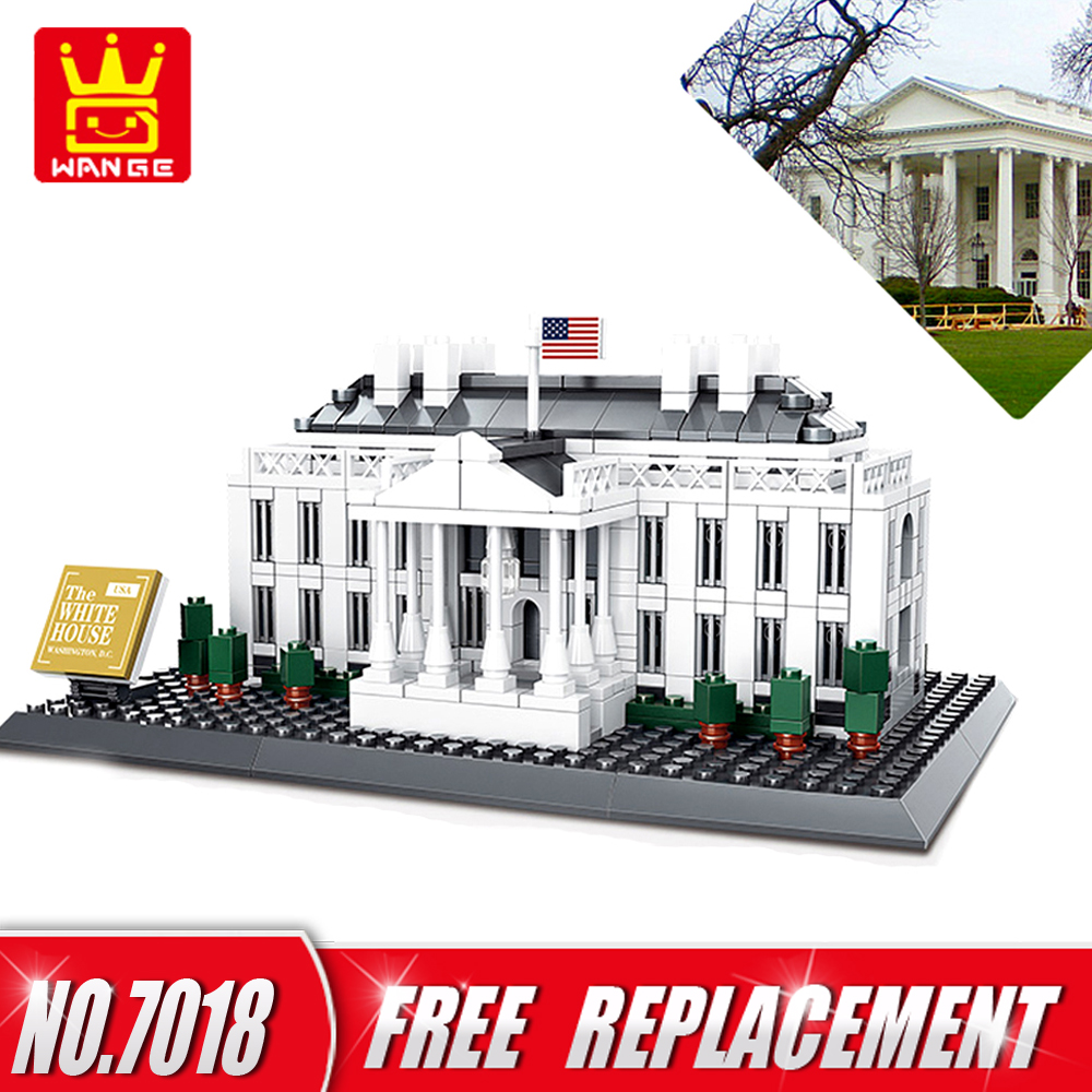WANGE Building Blocks The White house of Washington 771pcs Bricks DIY Educational Kids Toy Home Decor NO.7018 the house of the dead