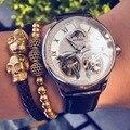 Мужские наручные часы с двойным турбийоном  фирменные автоматические деловые часы с кожаным ремешком черного цвета