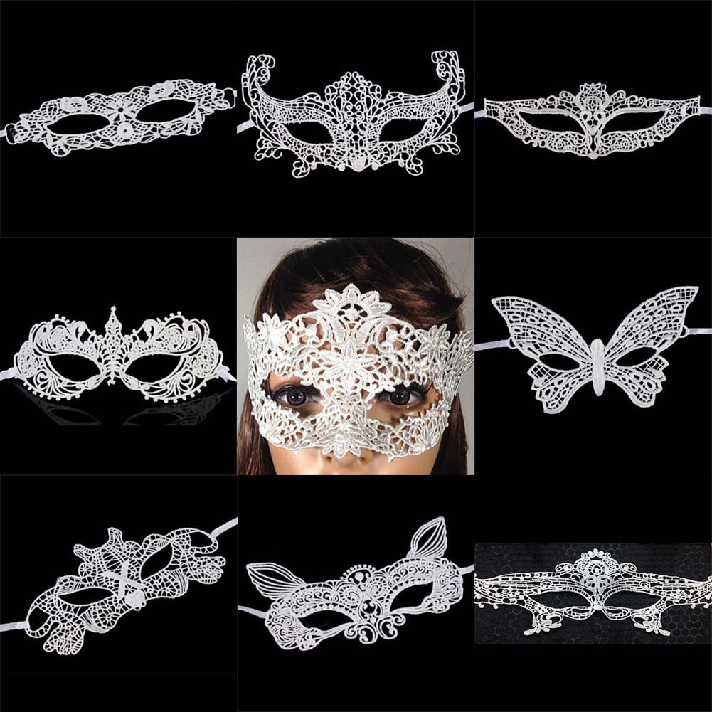 New Girls <font><b>Halloween</b></font> Ball Mask <font><b>Women</b></font> white Black <font><b>Sexy</b></font> Lady Lace Masks for Masquerade Party Fancy Dress Costume <font><b>2018</b></font> image