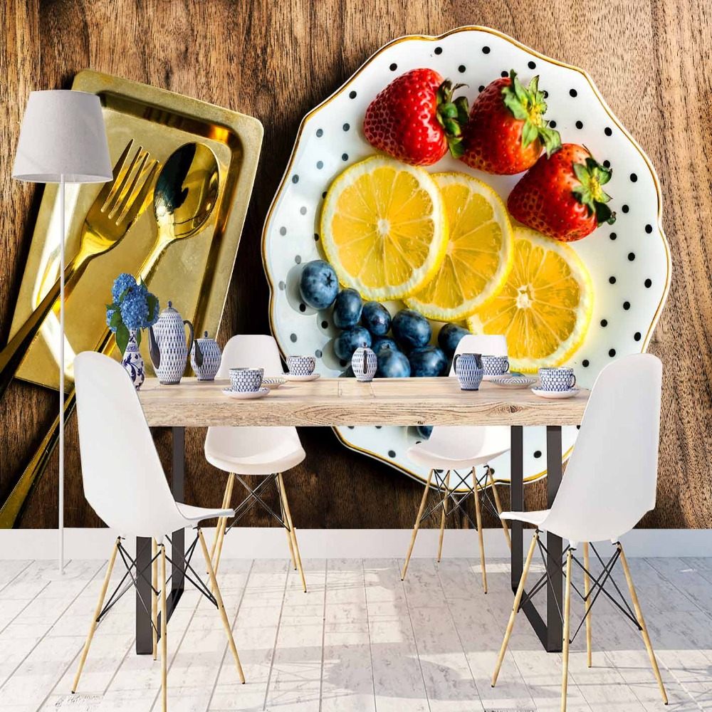 Else Orange Red Strawberry Plum Fruit Golden Plate 3d Print Photo Cleanable Fabric Mural Home Decor Kitchen Background Wallpaper