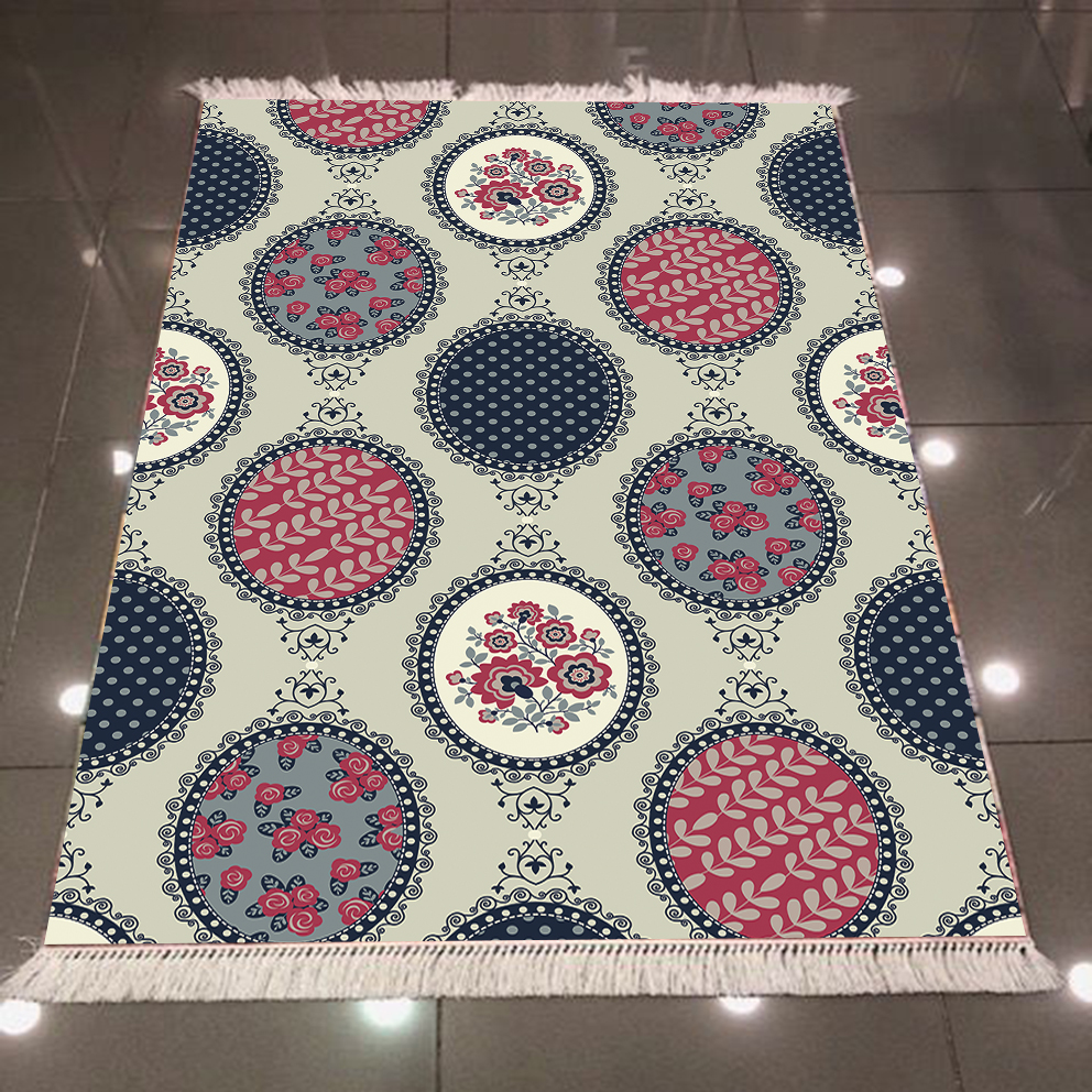 Else Gray Ethnic Flowers Red Blue Circle 3d Pattern Print Microfiber Anti Slip Back Washable Decorative Kilim Area Rug Carpet