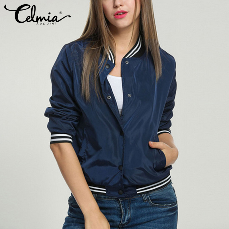 Celmia 2018 Spring Autumn Women Thin   Jackets   Tops   Basic   Bomber   Jacket   Long Sleeve Coat Casual Stand Collar Slim Fit Outerwear