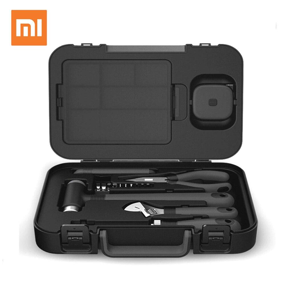 Xiaomi MIIIW 6 + 2 Ferramenta DIY Kit de Ferramentas Manuais Domésticos Em Geral com Fita caixa de Ferramentas Alicate Faca Chave De Fenda Martelo -preto