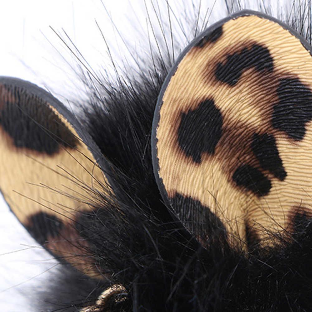 Das Mulheres da forma Artificial de Pele De Raposa Fofo Bola com Duas Orelhas Da Corrente Chave Chaveiro
