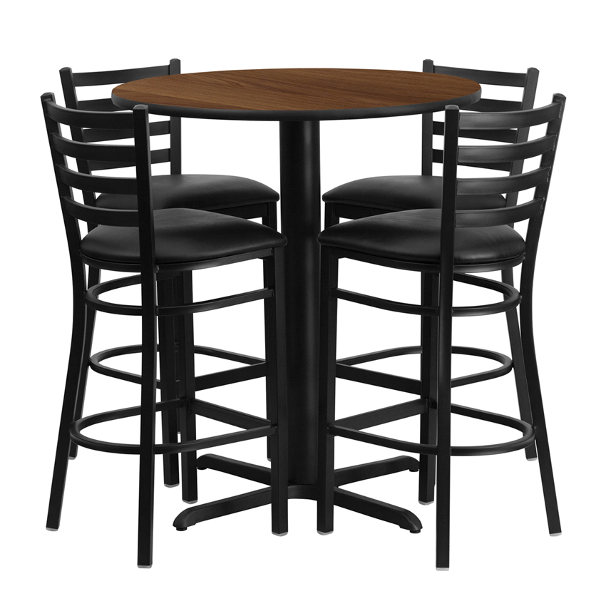 все цены на Flash Furniture 30'' Round Walnut Laminate Table Set with Ladder Back Metal Bar Stool and Black Vinyl Seat