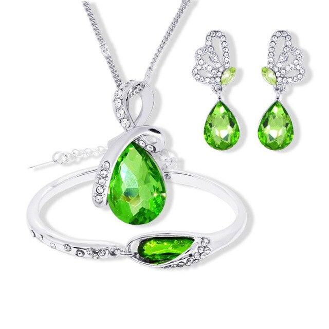 New Wholesale Austrian Crystal Jewelry Sets Water Drop Pendant Necklace Stud Earring Bracelet Silver Plated Jewellery Women 1