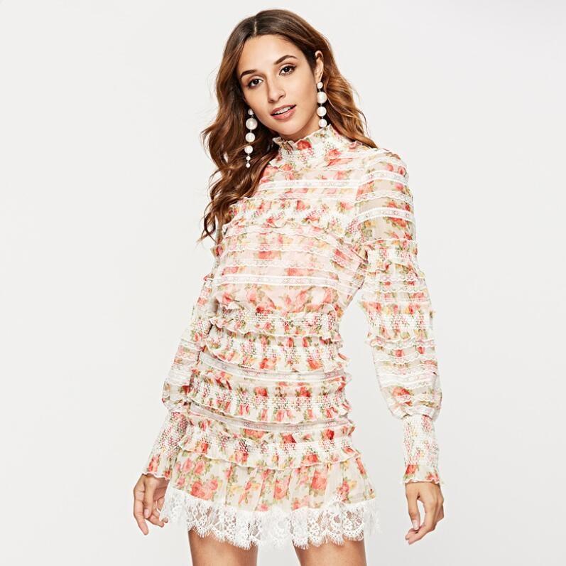 Nouvelle fleur imprimé drapé une ligne automne robe à manches longues printemps multicolore Floral imprimé bohème robes Slim Feminino SP-73