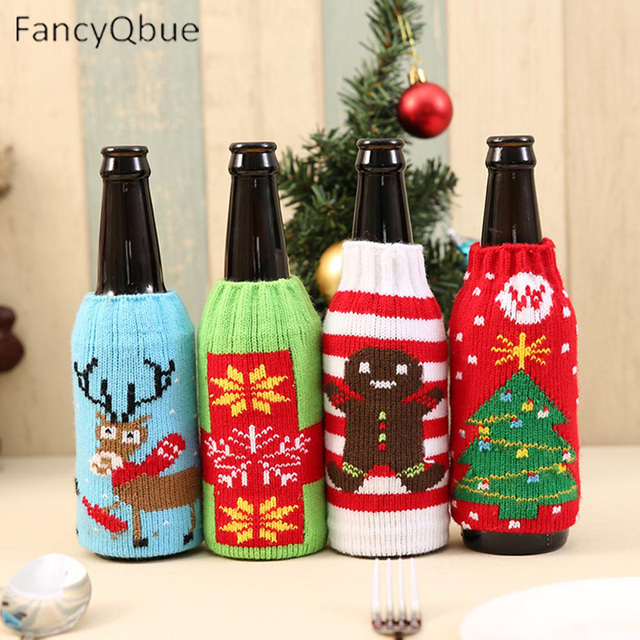 1 pcs wine bottle cover cute christmas sweater for wine bottles dinner table decoration clothes home