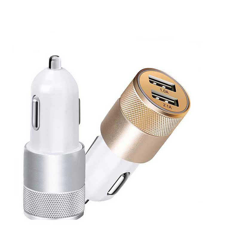 1 piezas. duradero Mini cargador de coche Dual USB de aleación de aluminio de doble puerto cargador de coche de carga rápida para IPad teléfono Móvil Inteligente