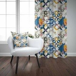 Else синие желтые османские Аутентичные рамки аутентичный 3D принт гостиная спальня оконная панель занавеска комбинированный подарок наволо...