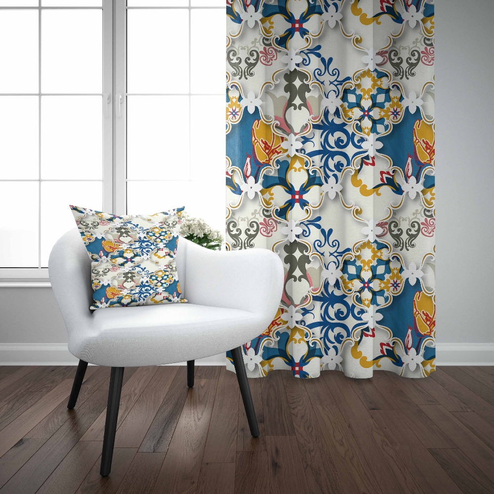 Else Blue Yellow Ottoman Authentic Frames Authentic 3D Print Living Room Bedroom Window Panel Curtain Combine Gift Pillow CaseElse Blue Yellow Ottoman Authentic Frames Authentic 3D Print Living Room Bedroom Window Panel Curtain Combine Gift Pillow Case