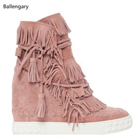Blush Tan 80mm Fringed Suede Wedge Casual Shoes Women Wedges Round Toe High Heels Shoes Height Increasing Boots Woman