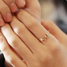 Fashion Musical Notes Melody Rhinestone Lady Dress Accessory Spiral Round Open Finger Ring