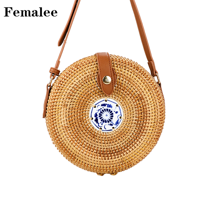 b7cbce9fa9 FEMALEE Vintage Rural Round Rattan Bags for Women Summer Straw Bag Handmade  Crossbody Bamboo Shouder Bags Circle Beach handbags