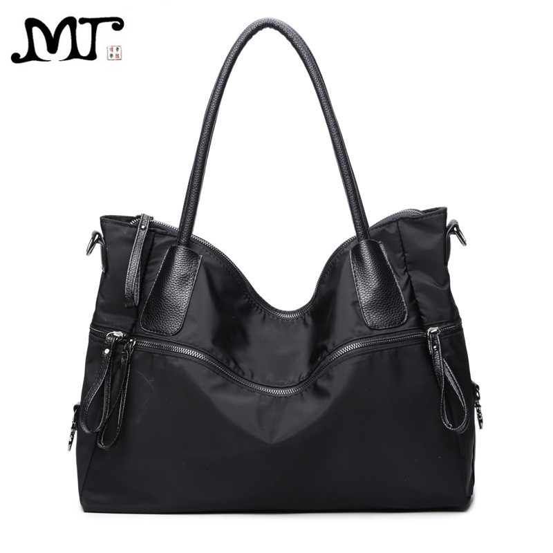MJ Brand Design Female Bags European and American Style Large Casual Black Oxford Handbag Shoulder Bag Lightweight High Capacity