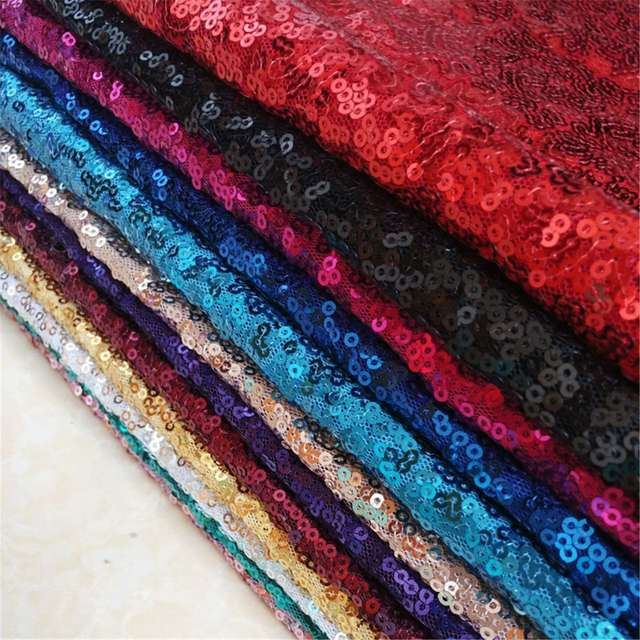 Stoff Färben 7 farben glitz stickerei tuch pailletten stoff volant tisch tuch