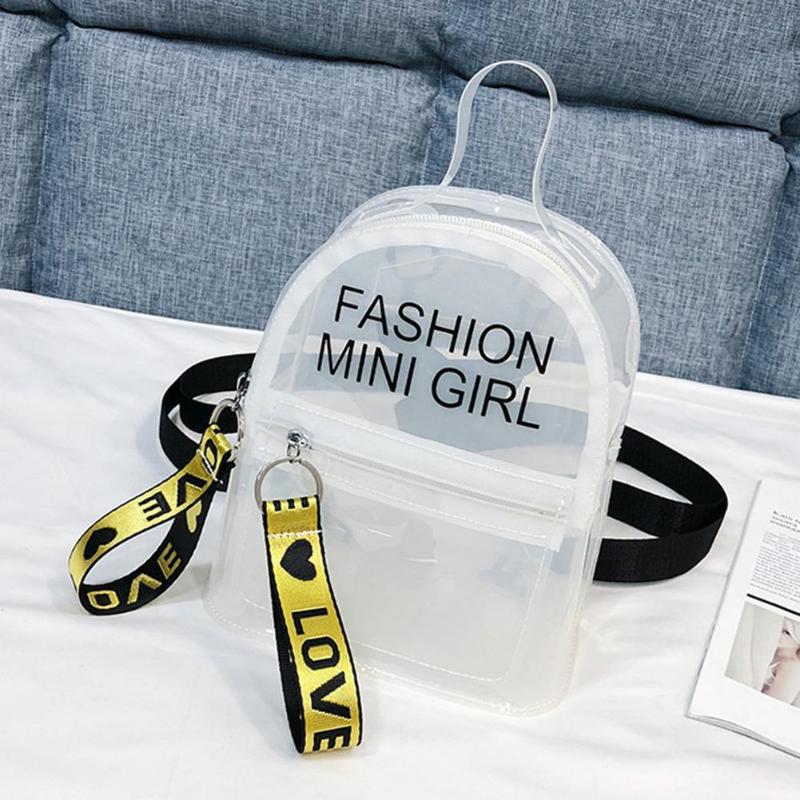 Mini Size Transparent Women Backpacks Clear PVC Teenager Girls Zipper Student School Backpack Travel Bag