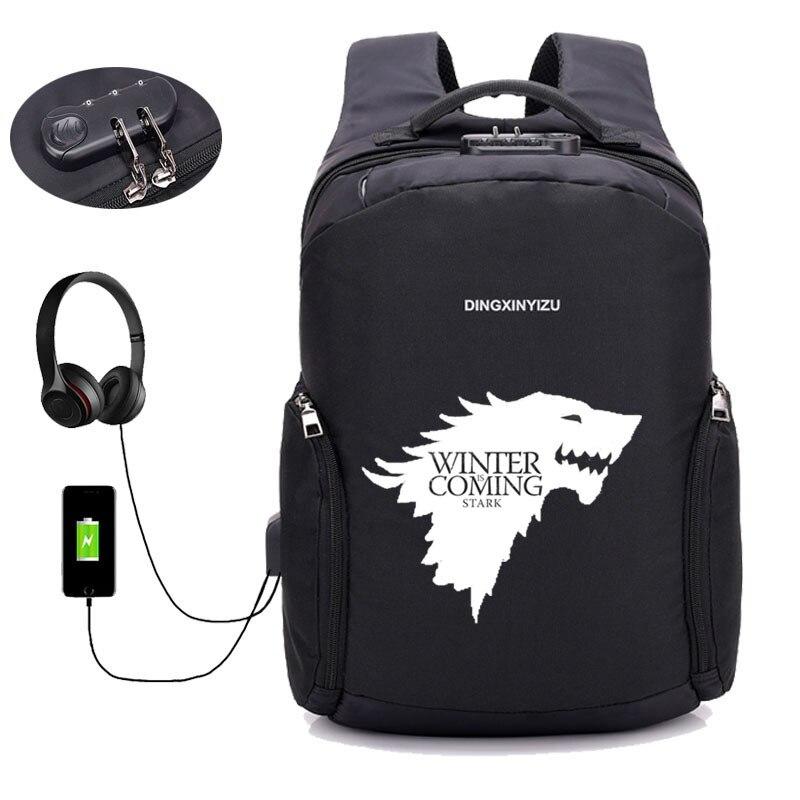 Anti thief USB Recharging backpack Game of Thrones backpack teenagers Laptop Backpack student bookbag Men women