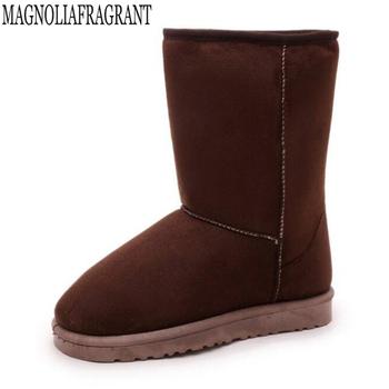 Klasyczne buty damskie antypoślizgowe wodoodporne buty zimowe damskie śniegowe buty trzymające ciepło buty środkowe buty na platformie botas mujer mm73 tanie i dobre opinie Dla dorosłych MAGNOLIAFRAGRANT Flock Niska (1 cm-3 cm) RUBBER Slip-on Połowy łydki 0-3 cm Zima Mieszkanie z Okrągły nosek