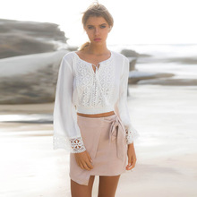 56733e2f406c0 Fashion Spring Summer Women Sweet Tops Lace Patchwork Shirt Long Sleeve  Exposed Navel Blouse V Neck