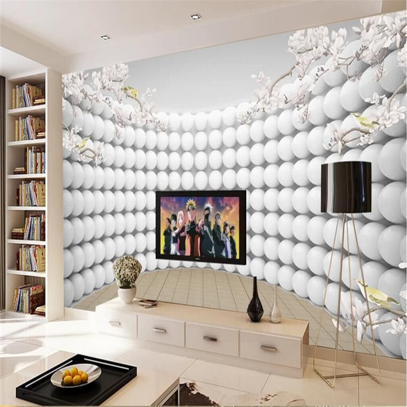 Living room white magnolia pattern curved 3D TV background wall manufacturers wholesale wallpaper mural custom photo wall custom photo wall paper 3d stereo magnolia circle mural wallpaper living room sofa tv backdrop modern seamless wall covering