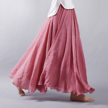 2017 Fashion Brand Women Linen Cotton Long Skirts high Waist Pleated Maxi Skirts Beach Boho Vintage Summer Skirts Faldas Saia