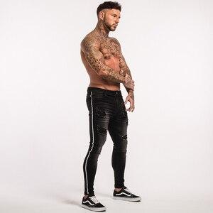 Image 4 - Gingtto กางเกงยีนส์ Skinny ชาย Ripped สีดำด้านข้างลายกางเกงยีนส์ยืด SLIM FIT กางเกงยีนส์ BIKER ยืดหยุ่นชายขนาดใหญ่ข้อเท้าแน่น guys zm23