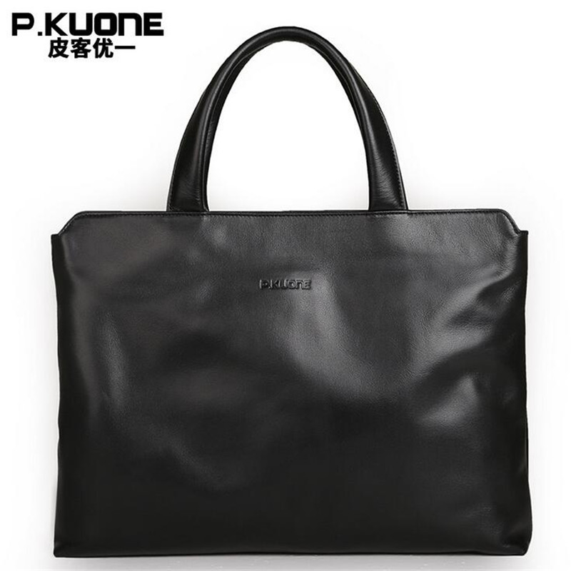 New P.KUONE Famous Brands Briefcases Men Luxury Genuine Cow Leather 13 inch Laptop Bag High Quality Handbags Business Travel Bag