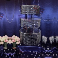 3Tier/Lot Crystal Chandelier Wedding Cake Stand Acrylic Crystals And Tear Drop Pendants Pastry Plate