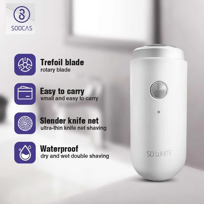 SOOCAS tan blanco ED1 Xiaomi Mijia Mini Afeitadora eléctrica maquinilla de afeitar USB recargable portátil recortador de barba lavable para hombres afeitadoras húmedas secas