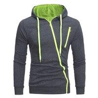 Men's Casual Long Sleeve Hoodie Slim Fit Slant Zipper Sweatershirt Top