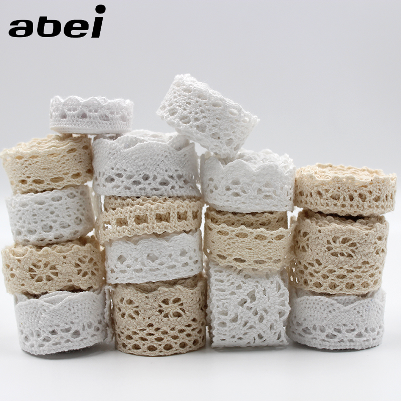 30yards/lot Cotton Material White Cotton Lace Trims Beige Clothing Decorative Ribbon Handmade Patchwork DIY Hometexile Sewing