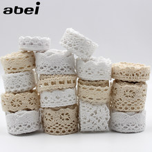 Roupas de renda de algodão, 30 jardas/lote, feitas à mão, material de algodão branco, roupas bege, decoração de patchwork, faça você mesmo, hometexile, costura