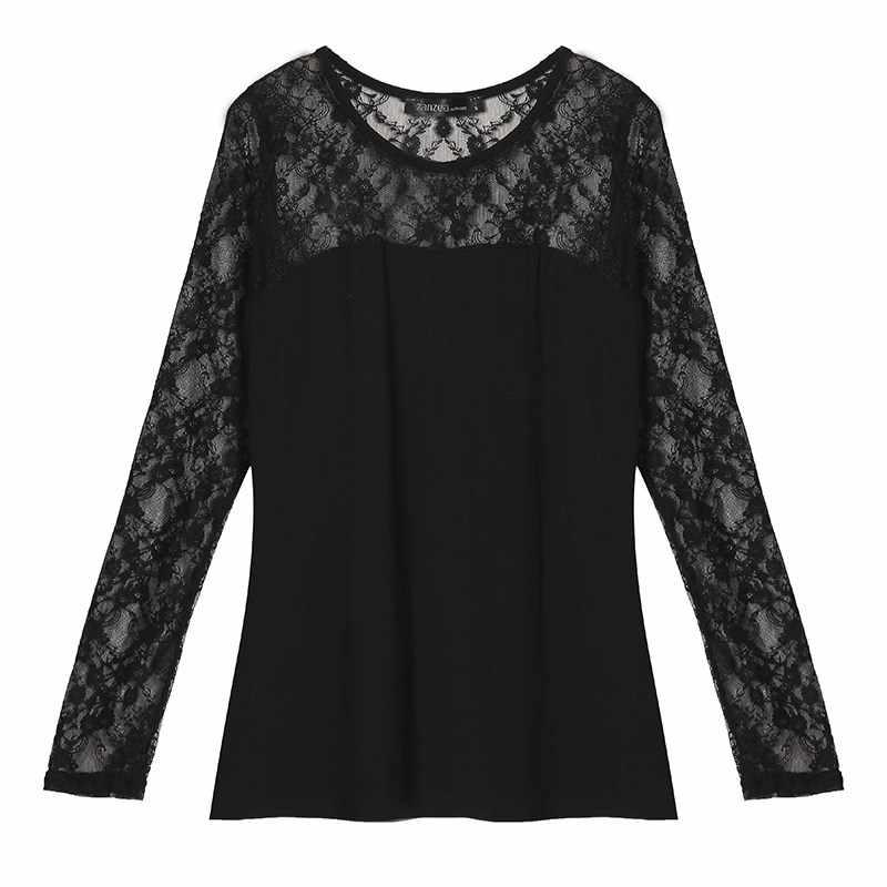 ZANZEA Blusas Femininas осень рубашки для мальчиков 2019 для женщин блузки малышек сексуальная блузка кружево с длинным рукавом О образным вырезо