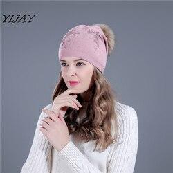 Winter knitted women  fur hats for lady beanies double butterfly cap girl fur pom poms