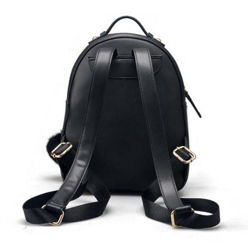 Véritable Noir Voyage Femmes Sacs Feminina Boule Dames Mini Bagpack À Mochila Mignon Petit Avec Cuir Duveteuse Rugzak Dos UrwYSU
