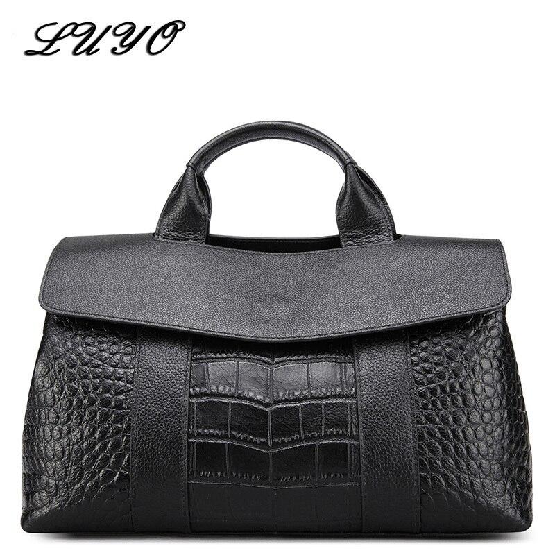 Luyo Atmosphere Genuine Leather Woman Large Capacity Crocodile OL Women Leather Handbags Tote Bag Shoulder Bags Female Luxury