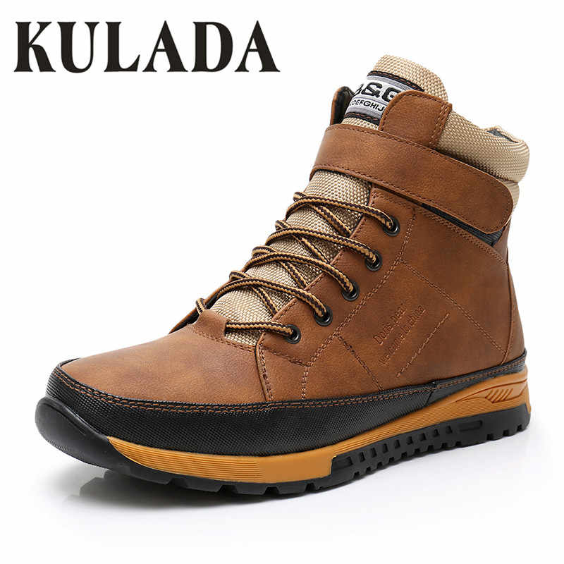 KULADA Boys Shoes Boots Brown Autumn&Winter Style Full Plus Size 32 to 41 Ankle Boot Antiskid Sole Children Warm Shoes
