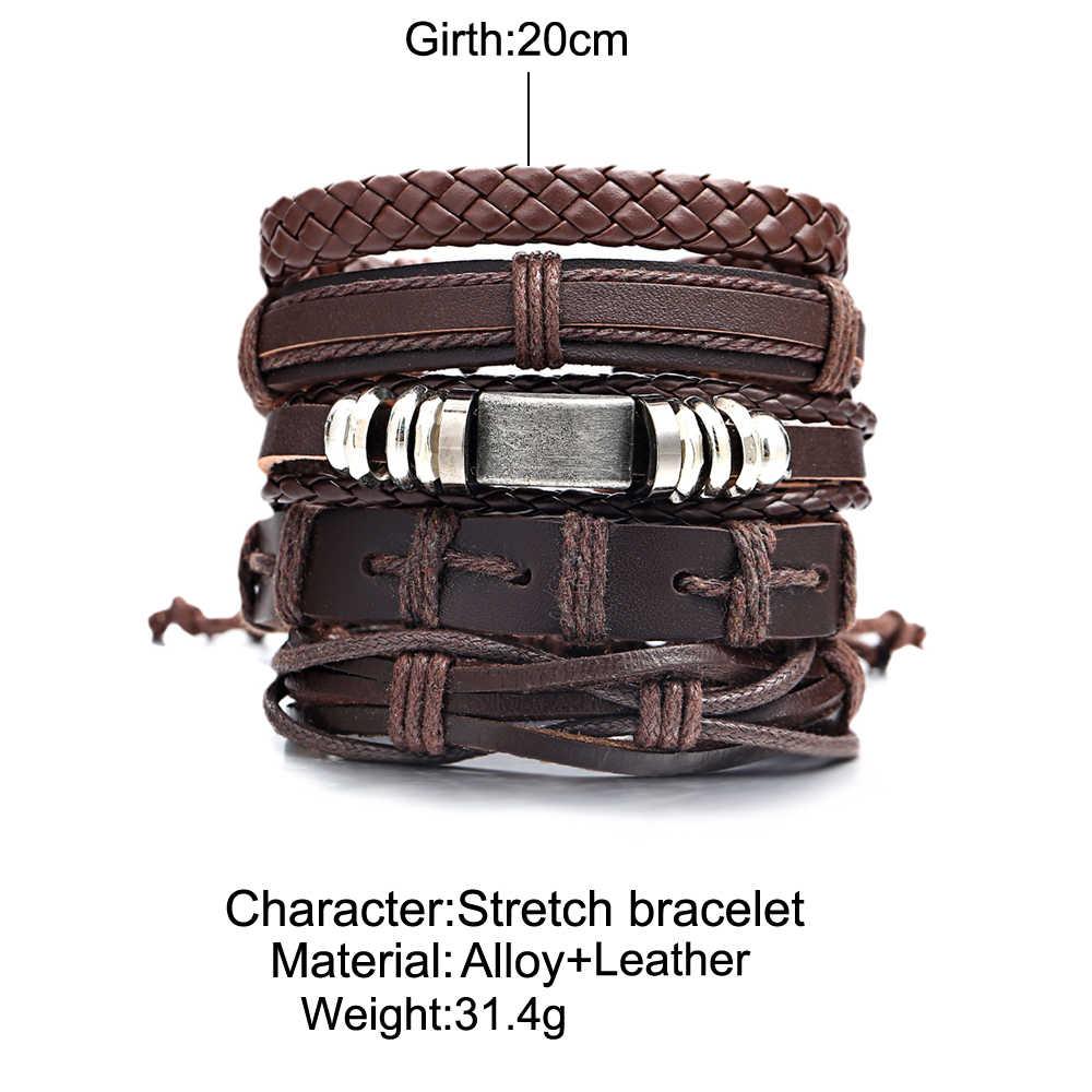 17KM Vintage wielowarstwowa skórzana bransoletka dla mężczyzn ręcznie nadgarstek bransoletka Punk liny biżuteria bransoletki i Bangles 2019
