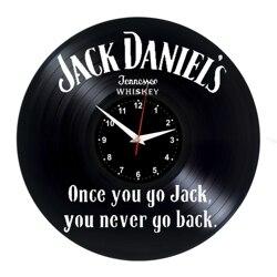 JACK DANIELS zegar ścienny winyl płyta winylowa zegar retro Handmade prezent vintage styl pokój dekoracje domu wielki zegar na prezent