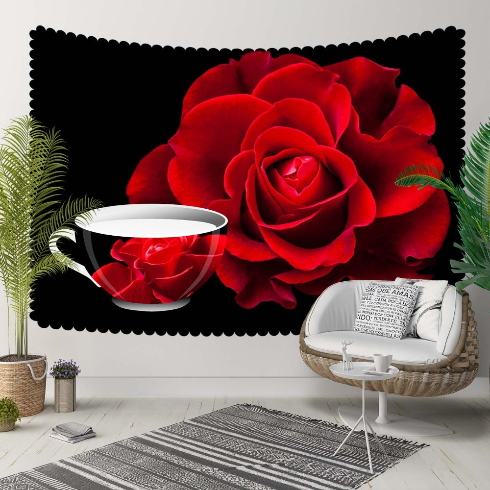 Else Black Floor Red Cup Of Tea Roses Flowers Retro 3D Print Decorative Hippi Bohemian Wall Hanging Landscape Tapestry Wall Art
