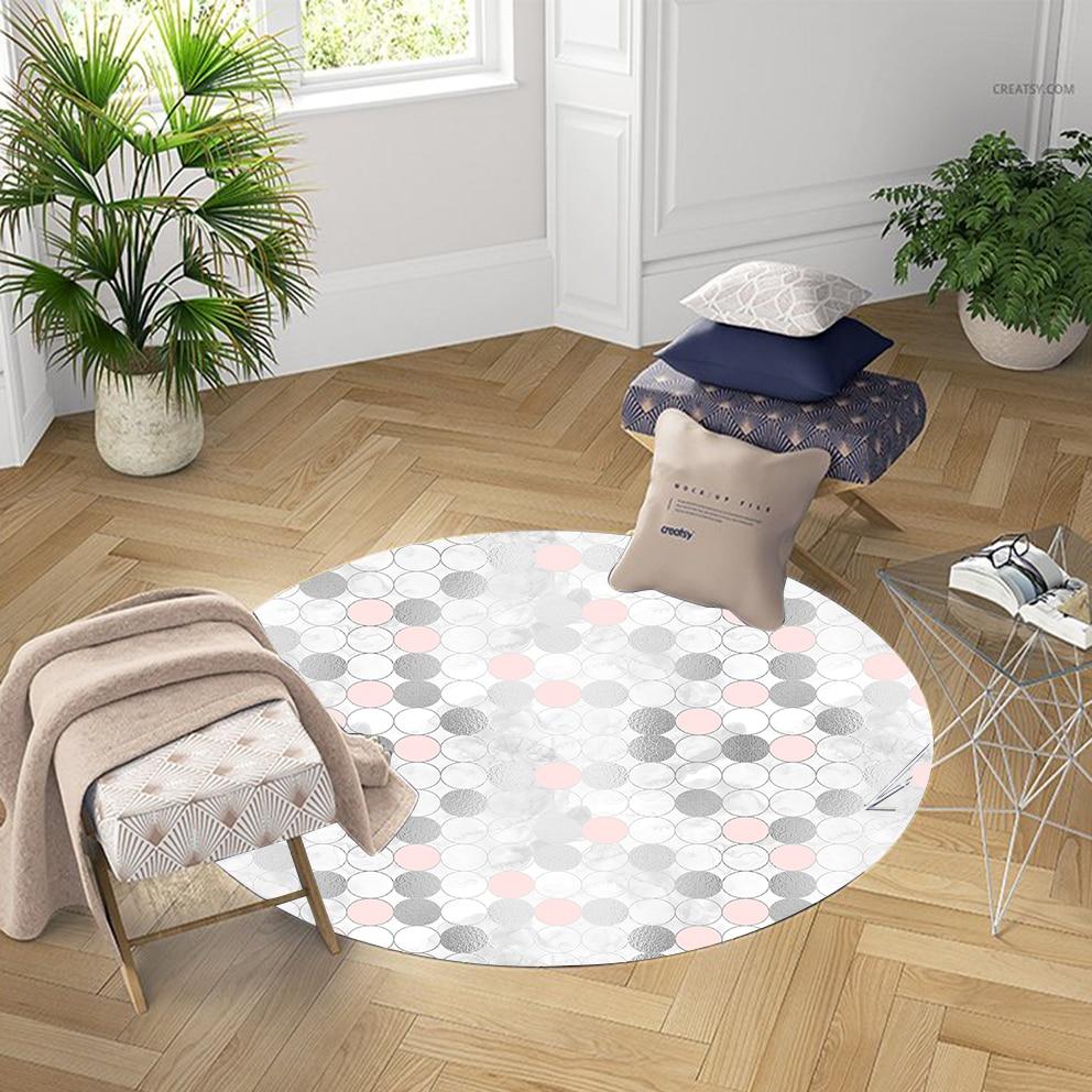 Else Black Pink Circle Watercolor Aging Nordec 3d Pattern Print Anti Slip Back Round Carpets Area Rug For Living Rooms Bathroom