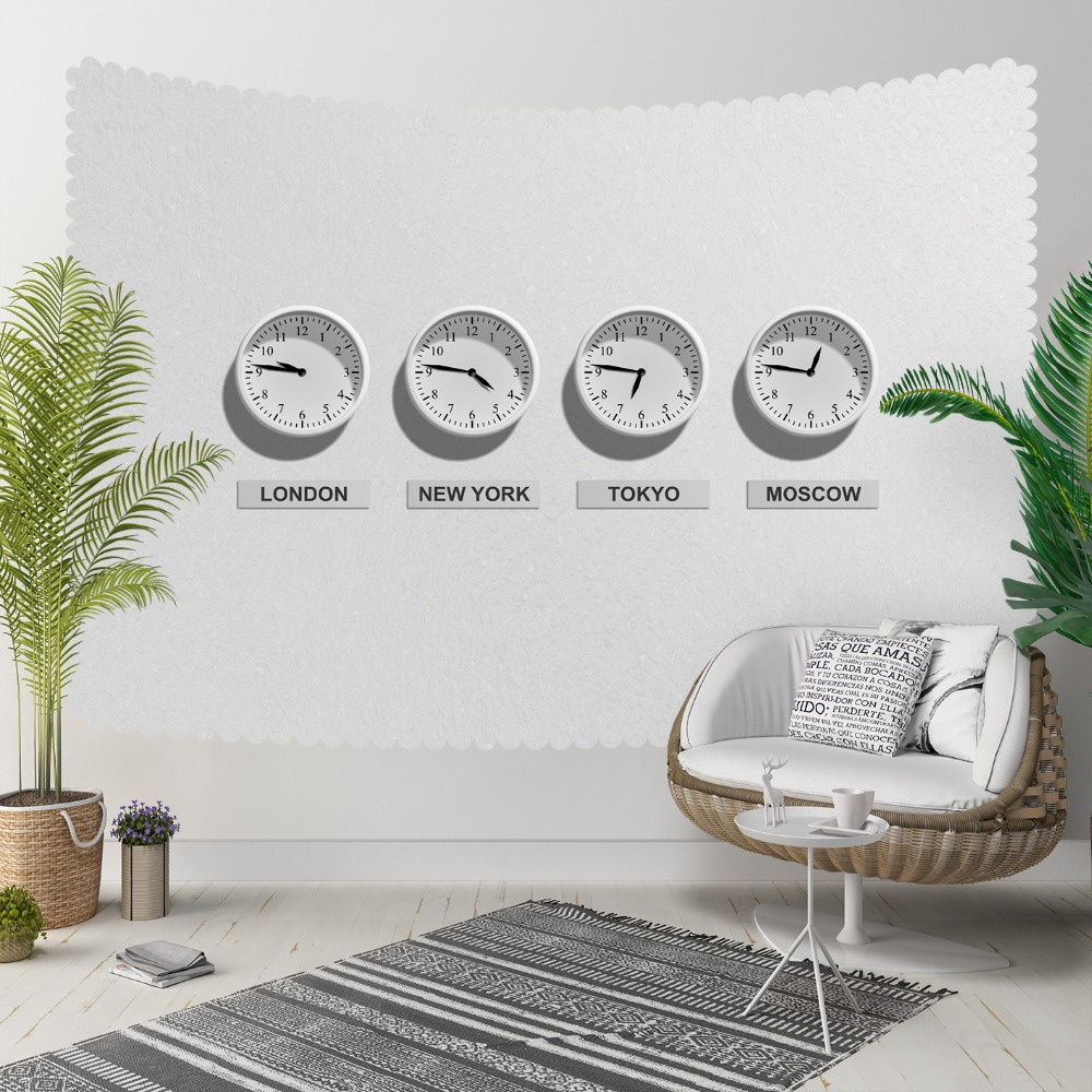 Else White Floor Earth World Clock Times Modern 3D  Print Decorative Hippi Bohemian Wall Hanging Landscape Tapestry Wall Art